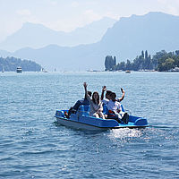 Fun with pedal boats on the Lake - B.H.M.S. Students